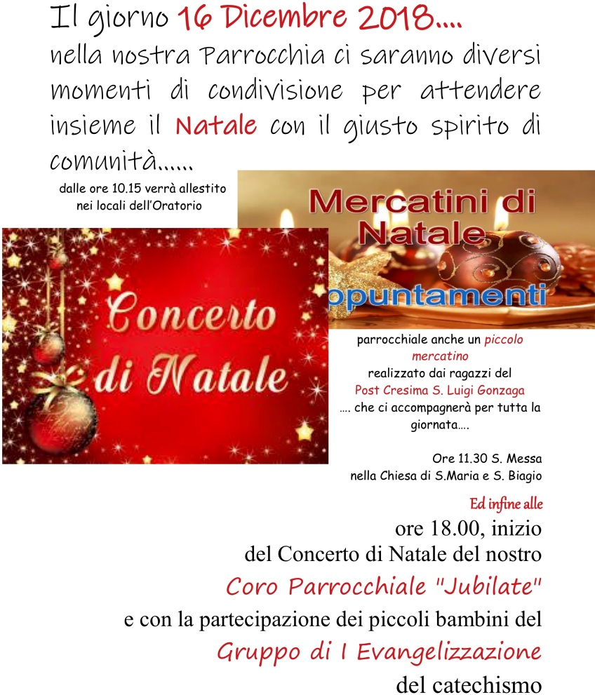 San Biagio Giorno Calendario.Manifesto 2018 Natele Parrocchia Santa Maria E San Biagio