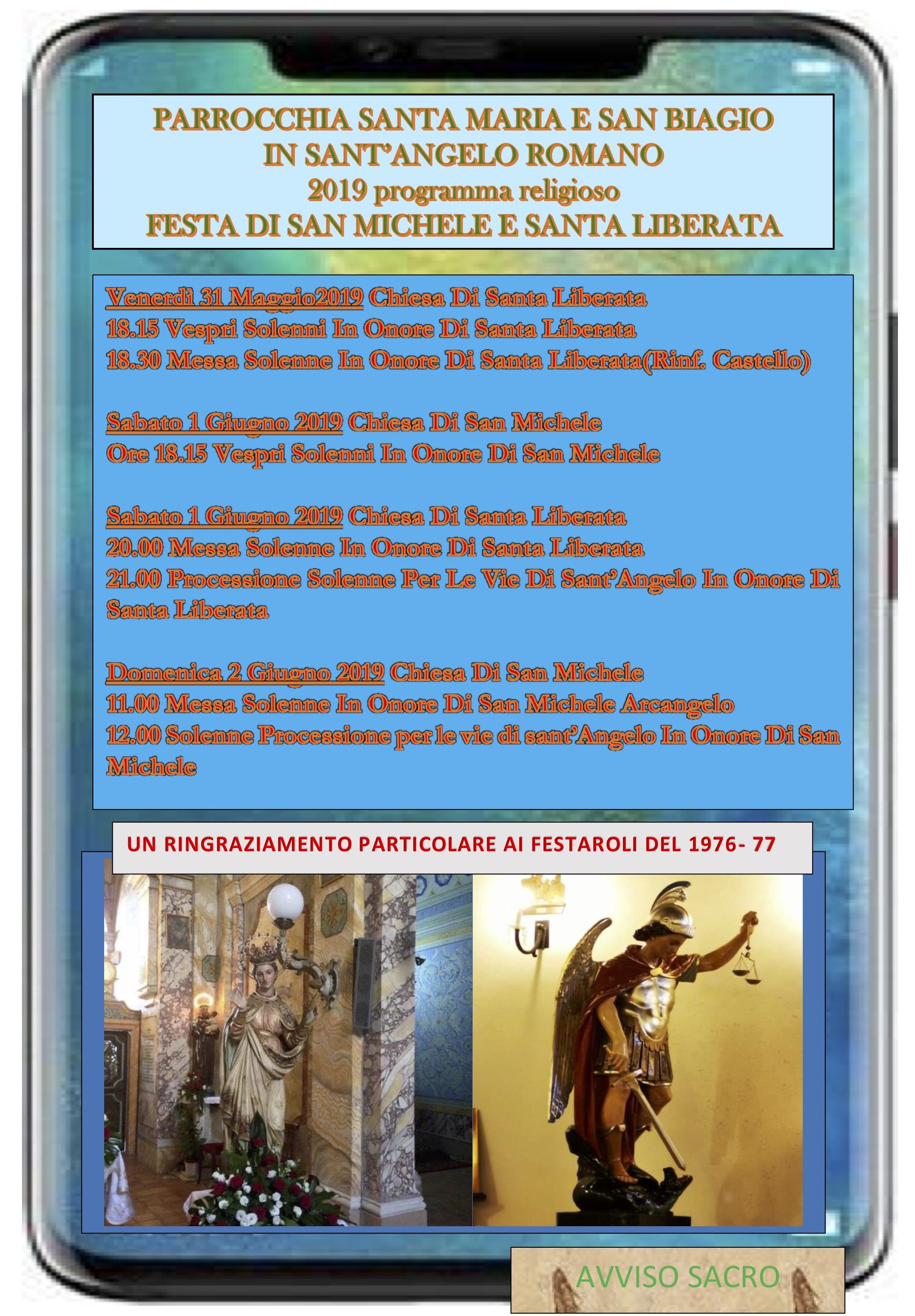 San Michele Data Calendario.Festa Di S Liberata E S Michele Parrocchia Santa Maria E