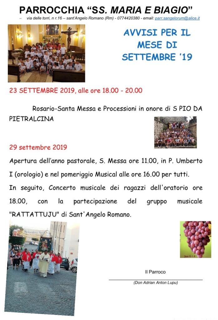 Calendario Liturgico Romano 2020.Parrocchia Santa Maria E San Biagio Sant Angelo Romano